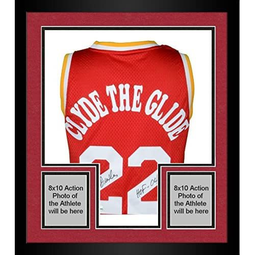 cad9dc886438 Framed Clyde Drexler Portland Trail Blazers Autographed Clyde the Glide  Swingman Jersey with HOF 04 Inscription
