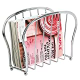 mDesign Decorative Modern Magazine Holder, Organizer - Standing Rack for Magazines, Books, Newspapers, Tablets, Laptops in Bathroom, Family Room, Office, Den - Chrome Wire