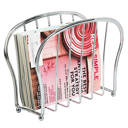 Magazine Newspaper Rack (mDesign Decorative Metal Wire Magazine Holder, Organizer - Standing Rack for Magazines, Books, Newspapers, Tablets, Laptops in Bathroom, Family Room, Office, Den - Chrome)