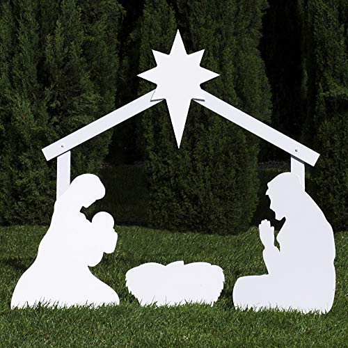 Outdoor Nativity Store Holy Family Outdoor Nativity Set (Standard, White)
