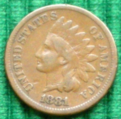 1881 U.S. Indian Head Cent / Penny Coin US Mint