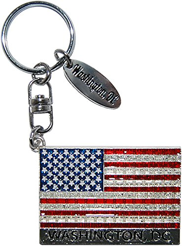 American Flag USA High End Diamond Encrusted Keychain with Nations Capital Washington D.C Engraved from CityDreamShop