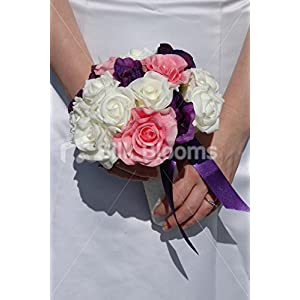Large Pink, Purple & Ivory Rose & Anemone Bridesmaid Bouquet 66
