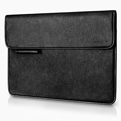 Tomtoc PU Leather New Surface Pro 2017 - Surface Pro 4 | 3 Sleeve Case Cover Ultra Slim Laptop Tablet Protective Bag with Accessory Pocket & Surface Pen holder - Black
