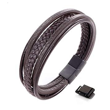 Leder Armband Herren Armband schwarz /& braun Edelstahl Magnet Verschluss Männer