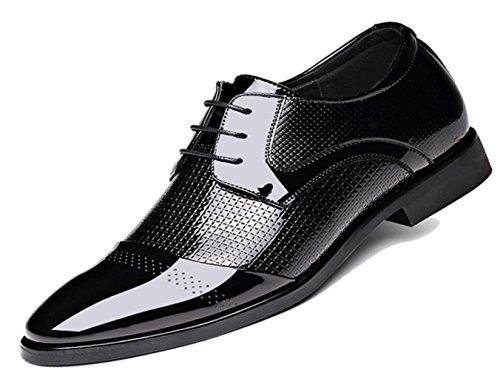 CSDM New England Men Business Genuine Leather Skin Leather Pointed Toe Large Size Single Shoes Casual Wedding Shoes , black , 42 by CSDM