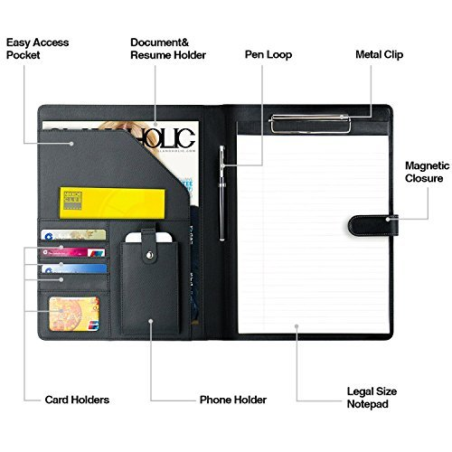 Padfolio Business/Resume Portfolio, AHGXG Leather Folder with Clipboard Document Organizer with Paper Clip, Legal Writing Pad, Pen Holder, Magnetic Closure and Pockets Contrast Stitch for Interview by AHGXG (Image #3)