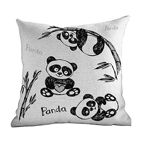 Matt Flowe Hidden Zippered Pillowcase Arrow,Cheerful Panda Different Poses with Bamboo Branch Children Painting Art Print,Black White,Decorative Home Zippered Custom Throw Pillow 16