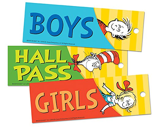 Eureka Back to School Dr. Seuss Cat in the Hat Student Bathroom and Hall Pass, 3pc, 2'' x 6''