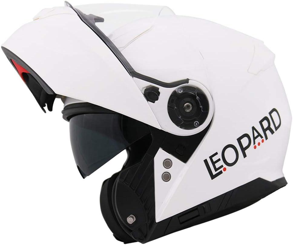 Leopard LEO-888 Casque Moto Modulable Double Visi/ère ECER Homologu/é Homme Femme Noir XL 61-62cm