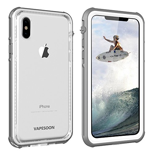 iPhone X/iPhone Xs Waterproof Case, Vapesoon Waterproof Shockproof Snowproof Clear Slim Case for iPhone X/iPhone Xs (5.8inch) -Gray/White (Gray/White)