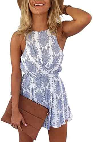 cea9f425fa1 LUKYCILD Women Sexy Strap Backless Summer Beach Party Romper Jumpsuit