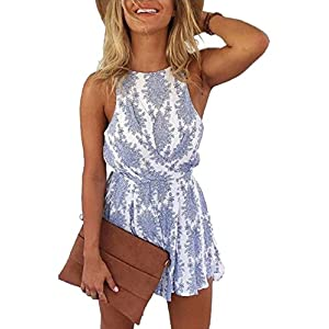 LUKYCILD Women Sexy Strap Backless Summer Beach Party Romper Jumpsuit