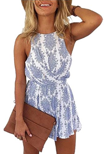 MAXIMGR Women Summer Sleeveless Boho Floral Print Backless Romper Shorts Beach Jumpsuit Blue