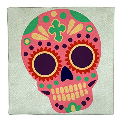PADIDA Pillow Case, Halloween Days of The Dead Flax Square Throw Flax Pillow Case Decorative Cushion Pillow Cover 45cmx45cm/18 -