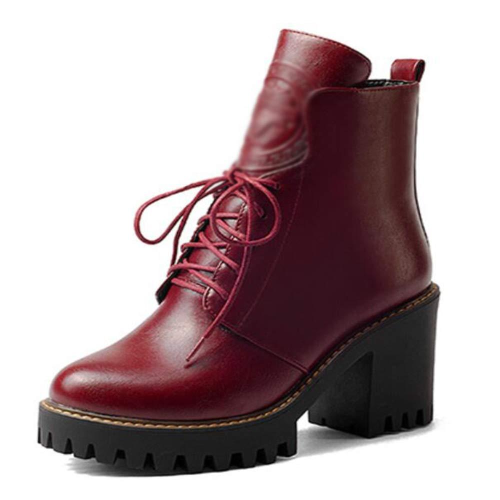 CITW Herbstliche Damenstiefel Rund Um Kopf Dick Mit Wasserdichter Plattform Reißverschluss Stiefel Großformat Stiefel,rot,UK3 EUR37