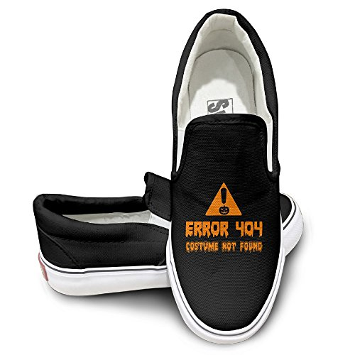 Error 404 Costume Not Found Image (Cobain Error 404 Costume Not Found Halloween Unisex Comfort Flat Canvas Shoes Sneaker 38 Black)