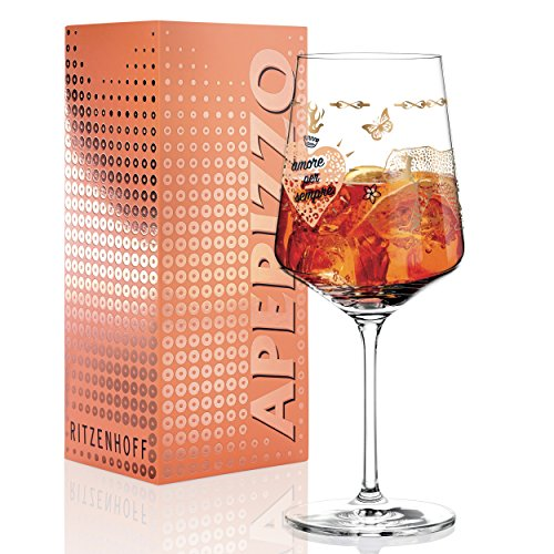 Ritzenhoff Aperizzo Aperitif Glass by Michaela Koch, Crystal Glass, 600ml, with elegant gold sides