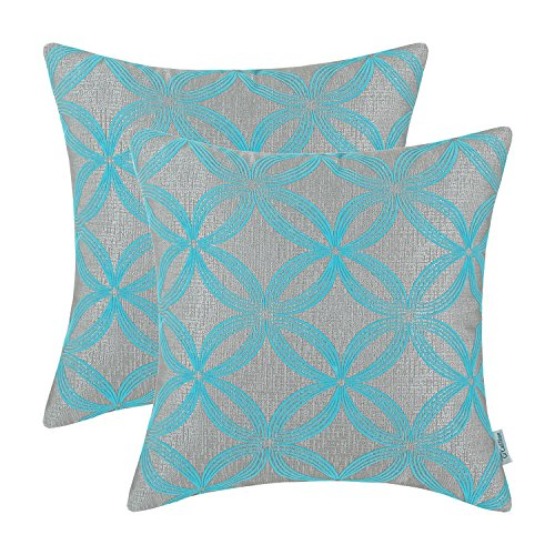Pack of 2 CaliTime Cushion Covers Throw Pillow Cases Shells for Home Couch Sofa 18 X 18 Inches, Flocking Circles Rings Geometric, Grey Turquoise (Turquoise Throw Pillow Covers)