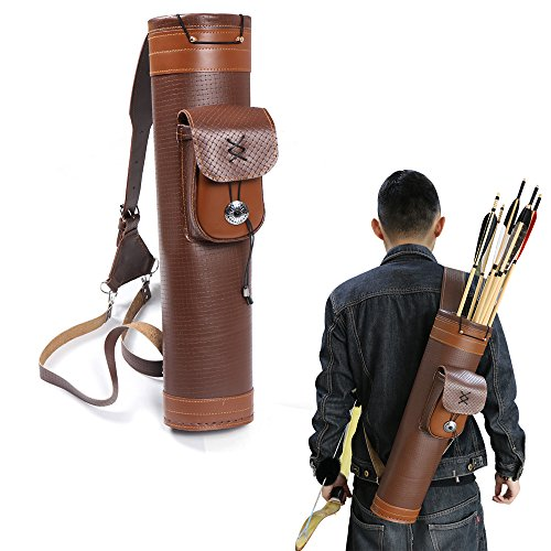 Toparchery Traditional Shoulder Back Quiver Bow Genuine Leather Arrow Holder with Large Pouch Handmade Straps Belt Bag Brown - Back Traditional Leather