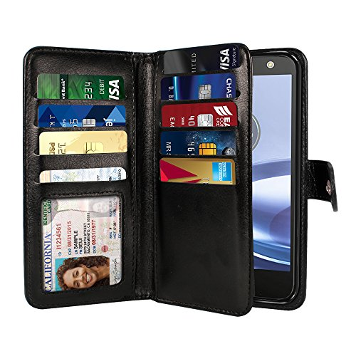 NEXTKIN Moto Z Force Case, Leather Dual Wallet Folio TPU Cover, 2 Large Pockets Double flap Privacy, Multi Card Slots Snap Button Strap For Motorola Moto Z Force 2016 Droid Edition - Black