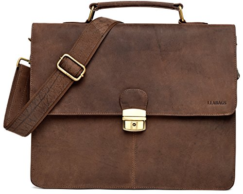LEABAGS Miramar Briefcase of Genuine Buffalo Leather in Vintage Look - Muskat by LEABAGS