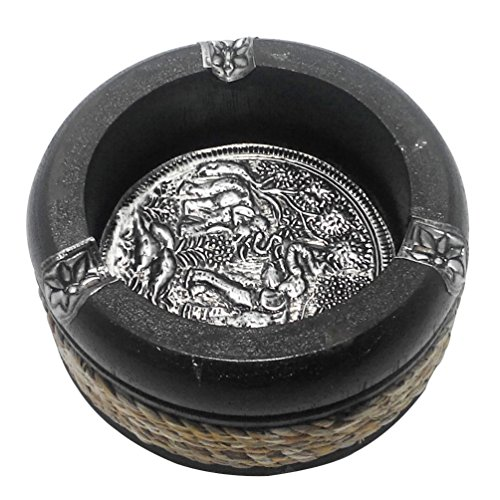 Adhomet Round Ashtray Smoke Collectible with and 3 Cigarette Holder Slots & Decorative Engraved Thai Elephant Bronze Motifs and - Collectible Ashtrays