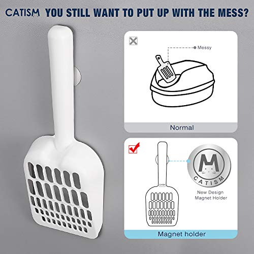 CATISM Multi-Size Cat Litter Scoop,Deep Shovel, ABS Plastic,Firm Frosted Textured Handle,Suit Different Sized Cats Litter and Easy Clean