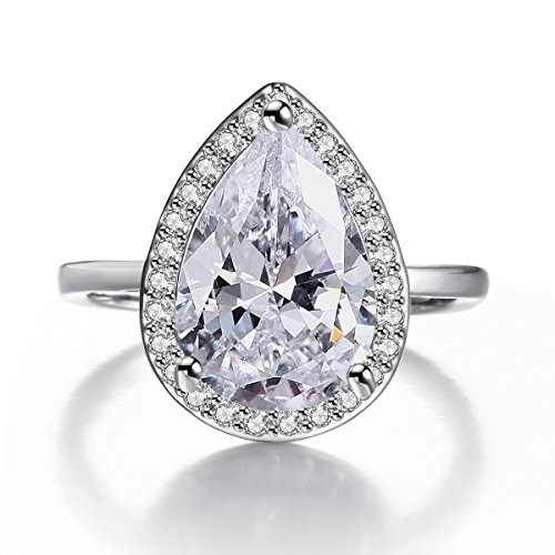 4.85 Carat Solitaire Teardrop Cubic Zirconia Ring for Women, Halo Set Rhodium Plated Jewelry Size (Solitaire Teardrop Ring)