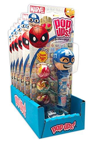 Spider Man Lollipop Holder - Marvel Emoji Pop Ups Lollipop Case with Chupa Chups Lollipops, Pack of 6
