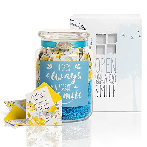 KindNotes Glass Keepsake Gift Jar with Friendship and Inspirational Messages - Morning Sunshine Reason to Smile ()