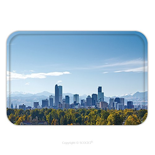 Flannel Microfiber Non-slip Rubber Backing Soft Absorbent Doormat Mat Rug Carpet Denver Skyline At Noon 546499795 for Indoor/Outdoor/Bathroom/Kitchen/Workstations