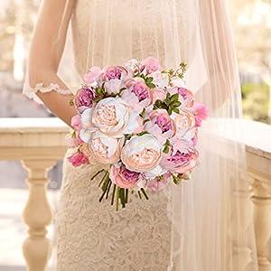 Artiflr 2 Pack Artificial Peony Wedding Flower Bush Bouquet Vintage Peony Silk Flowers for Home Kitchen Wreath Wedding Centerpiece Decor,Light Pink 2