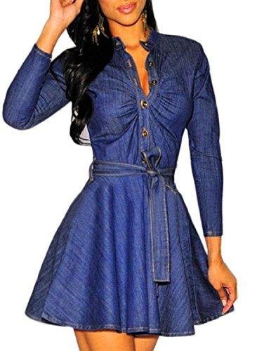 Buy belted denim shirt dress - 5