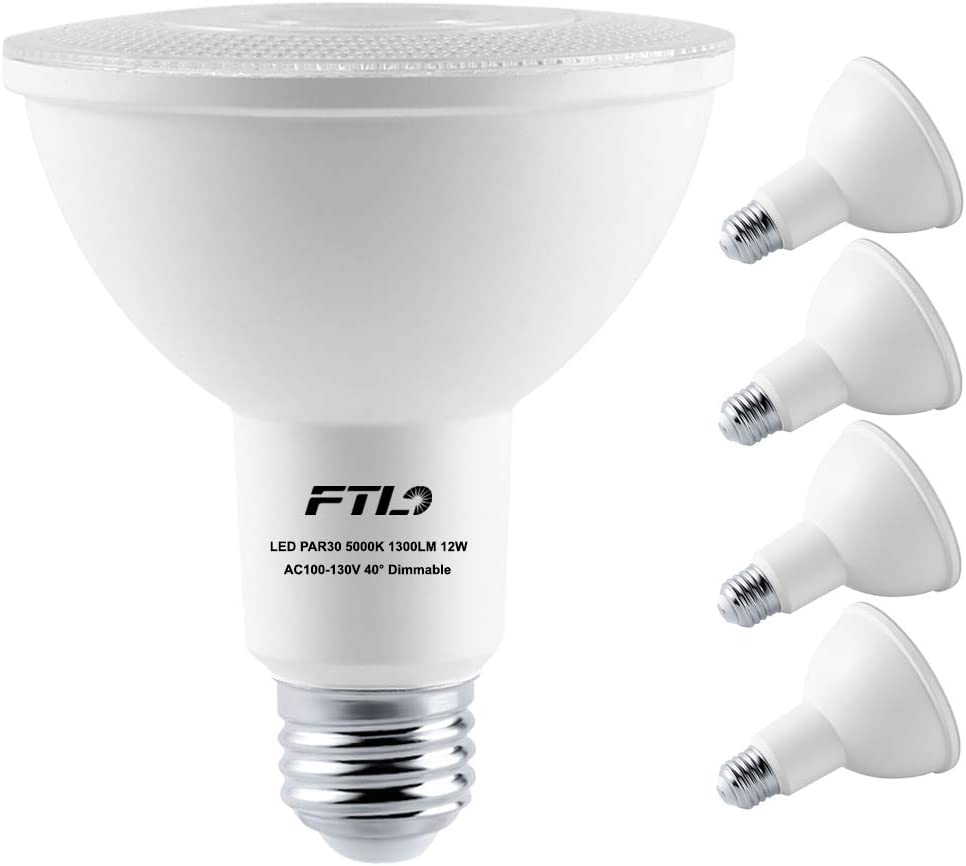 PAR30 LED Flood Light Bulbs Long Neck 5000K Daylight Dimmable 75W Halogen Equivalent 12W E26 1300LM 40 Degree Spotlight for Recessed Can Lighting Indoor/Outdoor 4-Pack