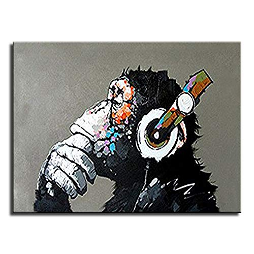 Animal Chimp Painting Abstract Modern Wall Art for Living Room Monkey 100% Oil Paintings on Canvas Thinking Gorilla Artwork (32 x24 inch Ready to Hang)-GET 1 Free Umbrella Add Both to Cart