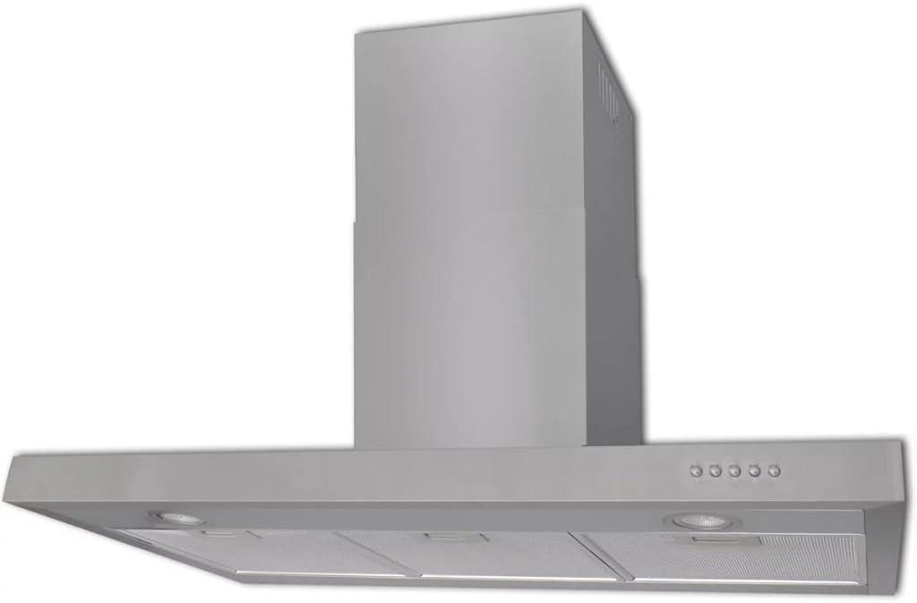 UnfadeMemory Campana Extractora Plana de Cocina con 2 Luces LED,Decoracion de Cocina,3 Niveles de Potencia,Filtro Carbon,720m³ / h,Acero Inoxidable,Plateado,900x480x(450-750) mm: Amazon.es: Hogar