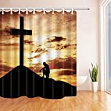 AMNYSF Christian Praying Before Cross Under Golden Sky Decor Shower Curtain Yellow And Black,70x70 Inches Waterproof Mildew Resistant Polyester Fabric Bathroom Accessories Curtains With 12pcs Hooks