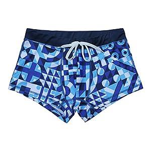 5TH INDUSTRY - 20+ Styles - Mens Swim Brief Square Leg Swimsuit - Blue Geometric - Medium