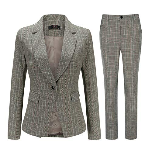Women's Vintage 2 Piece Plaid Suit Set One Button Stylish Blazer and Pants Yellow ()