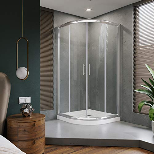 ELEGANT Center on Sliding Shower Enclosure, Framed Round Opening Shower Door,Quadrant Cubicle Shower Glass Door with 38in. x 38in. x 3 in. Shower Base, 36 7/10 in. x 36 7/10 in. x 71 4/5 in, Chrome