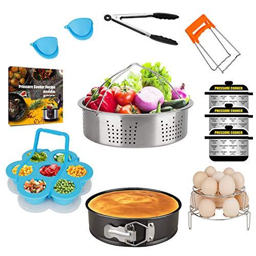 KITOOLBASE Pressure Cooker Accessories compatible with Instant Pot 8 Quart 6 Qt 6QT/8QT, including Steamer Basket Springform Pan Egg Trivet