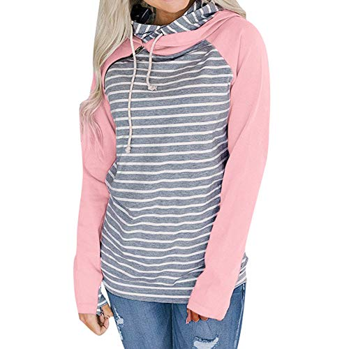 Go-first Women's Hoodies Long Sleeve Striped Pullover Casual