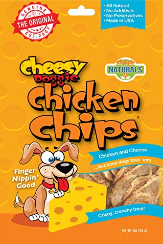 (Cheesy Doggie Chicken Chips | Dog Treats Made in USA - 4 oz 100%)