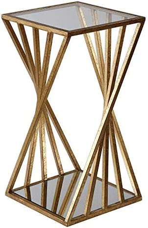 MY SWANKY HOME Gold Angle Geometric Square Accent Table