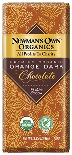 Newman's Own Organics Organic Premium Chocolate Bar, Orange Dark 54% Cocoa, 3.25-Ounce Bars (Pack of - 54 Orange
