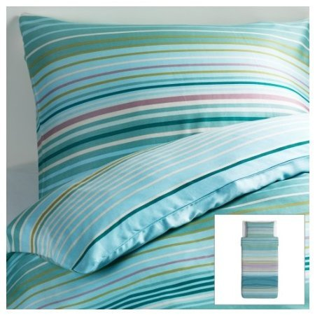Ikea PALMLILJA Duvet covers Blue Turquoise 2pc Twin Duvet Covers Stripe, Cotton Lyocell 207 TC