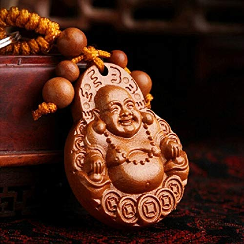 Bluelans Natural Peachwood Keychain Lucky Laughing Buddha Pendant Key Ring Ornament Gift Valentine's Day/Mother's Day/Father's Day/Wedding/Anniversary/Party/Graduation/Christmas/Birthday Gifts]()