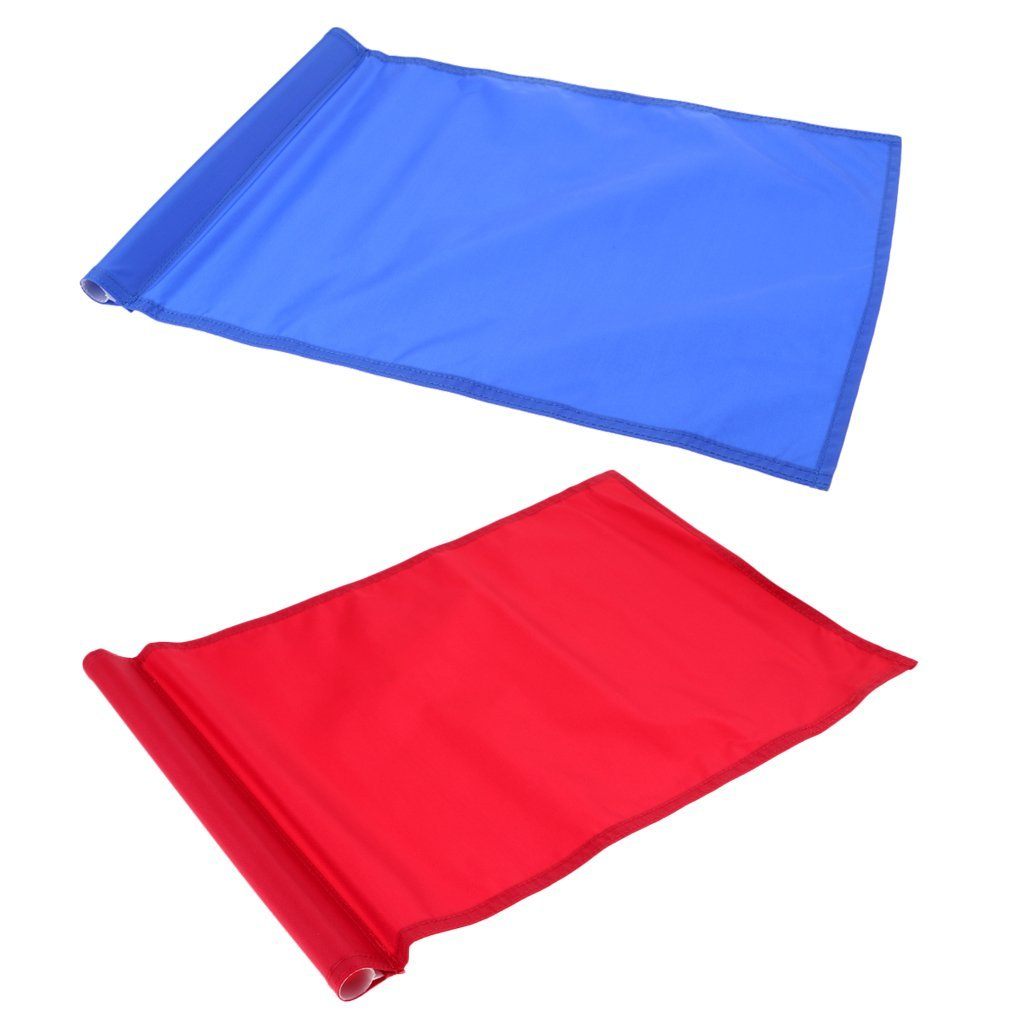 Baoblaze 2Pcs 51 x 35cm Standard Golf Putting Green Flags for Golfer Backyard Practice Training Aid - Green Blue