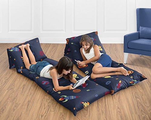 Sweet Jojo Designs Space Galaxy Collection Kids Teen Floor Pillow Case Lounger Cushion Cover (Pillows Not Included)